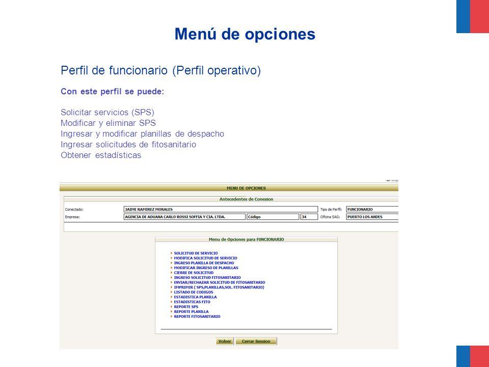 Menú de opciones Perfil de funcionario (Perfil operativo) Con este perfil se puede: Solicitar servicios (SPS) Modificar y eliminar SPS Ingresar y modi