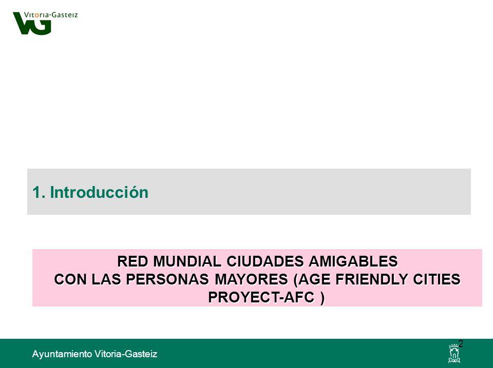 Ayuntamiento Vitoria-Gasteiz 1. Introducción 2 RED MUNDIAL CIUDADES AMIGABLES CON LAS PERSONAS MAYORES (AGE FRIENDLY CITIES PROYECT-AFC )