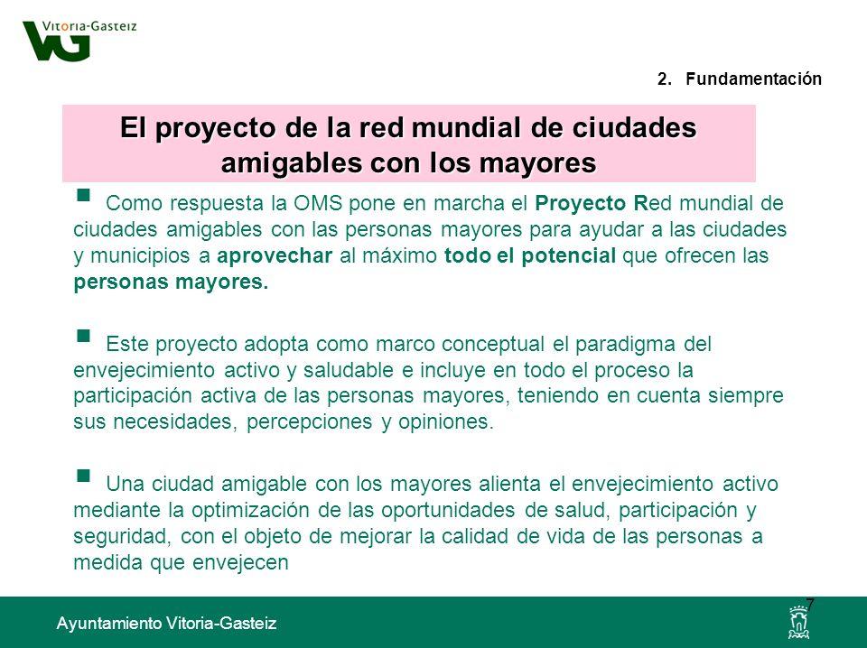 Ayuntamiento Vitoria-Gasteiz 2. Fundamentación Como respuesta la OMS pone en marcha el Proyecto Red mundial de ciudades amigables con las personas may