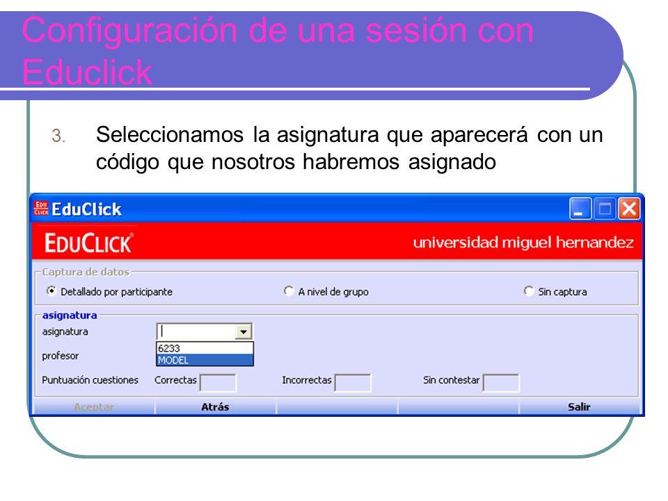Configuración de una sesión con Educlick 3.