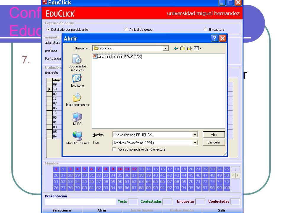 Configuración de una sesión con Educlick 7.