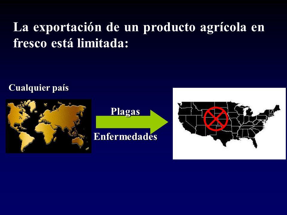 PlagasEnfermedades La exportación de un producto agrícola en fresco está limitada: Cualquier país