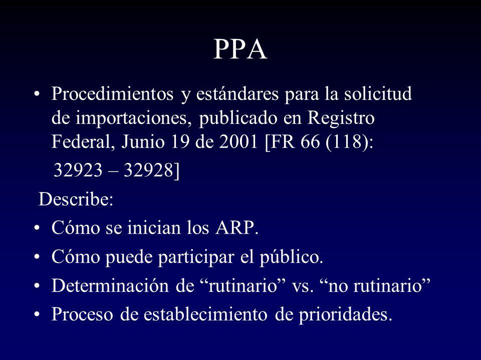 PPA Procedimientos y estándares para la solicitud de importaciones, publicado en Registro Federal, Junio 19 de 2001 [FR 66 (118): 32923 – 32928] Descr