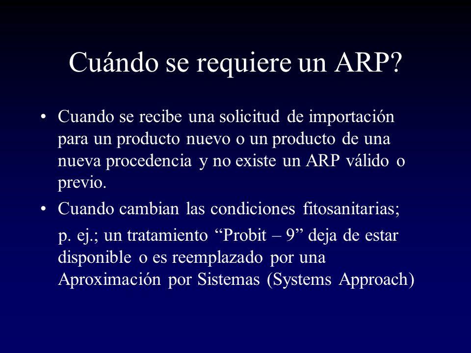 Cuándo se requiere un ARP? Cuando se recibe una solicitud de importación para un producto nuevo o un producto de una nueva procedencia y no existe un