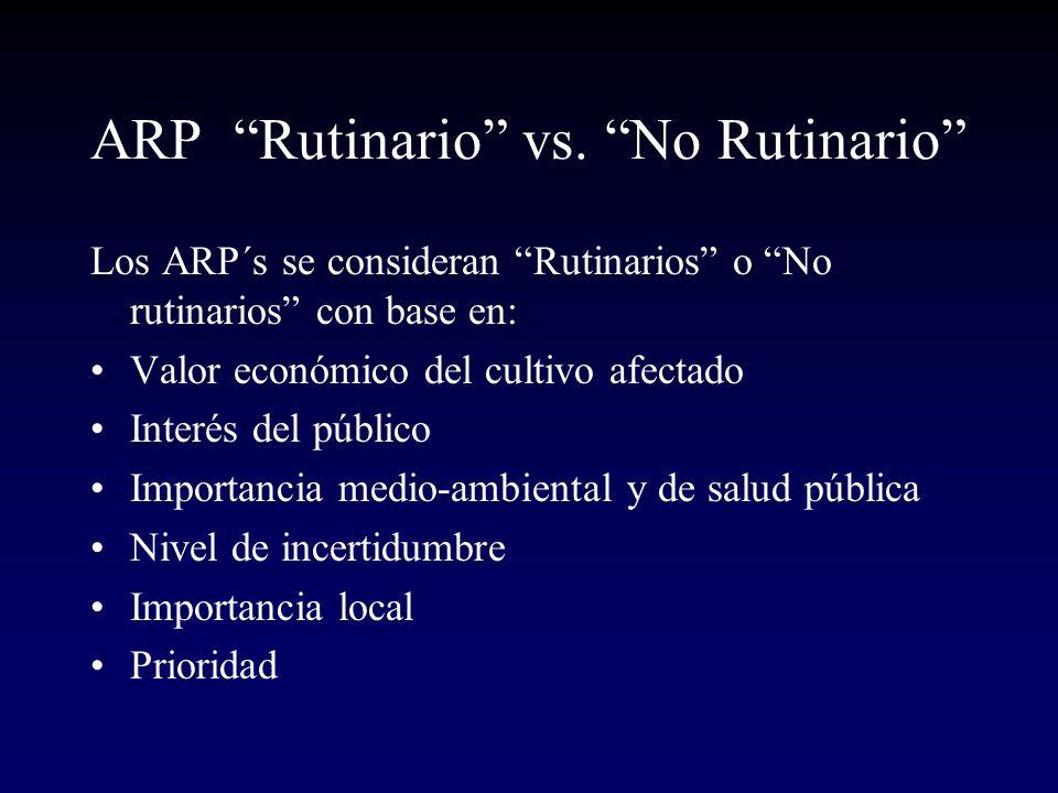 ARP Rutinario vs. No Rutinario Los ARP´s se consideran Rutinarios o No rutinarios con base en: Valor económico del cultivo afectado Interés del públic