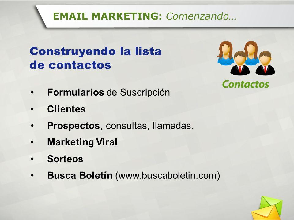 Formularios de Suscripción Clientes Prospectos, consultas, llamadas. Marketing Viral Sorteos Busca Boletín (www.buscaboletin.com) EMAIL MARKETING: Com
