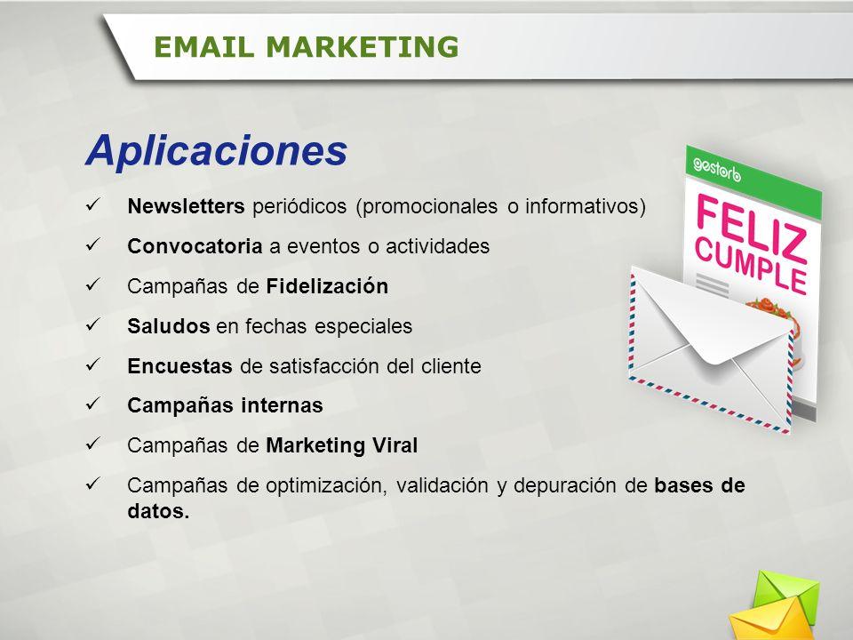 Newsletters periódicos (promocionales o informativos) Convocatoria a eventos o actividades Campañas de Fidelización Saludos en fechas especiales Encue