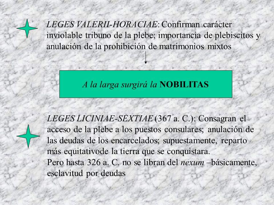 LEGES VALERII-HORACIAE: Confirman carácter inviolable tribuno de la plebe; importancia de plebiscitos y anulación de la prohibición de matrimonios mix