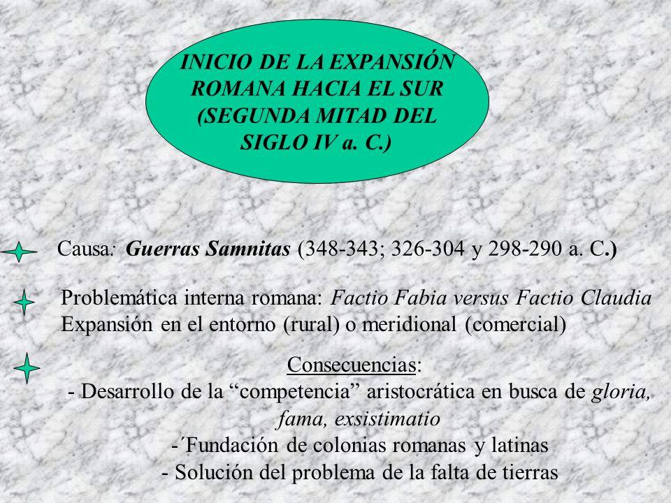 INICIO DE LA EXPANSIÓN ROMANA HACIA EL SUR (SEGUNDA MITAD DEL SIGLO IV a. C.) Causa: Guerras Samnitas (348-343; 326-304 y 298-290 a. C.) Problemática