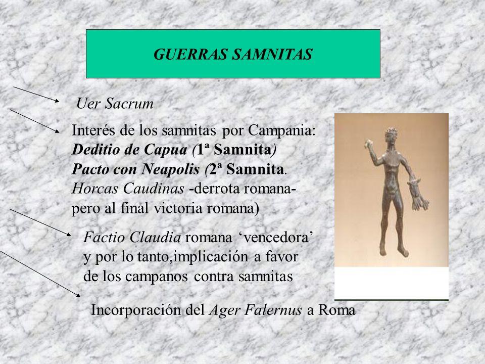 GUERRAS SAMNITAS Uer Sacrum Interés de los samnitas por Campania: Deditio de Capua (1ª Samnita) Pacto con Neapolis (2ª Samnita. Horcas Caudinas -derro