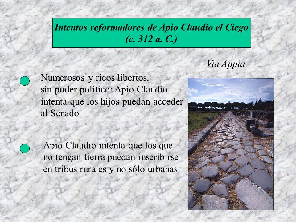 Intentos reformadores de Apio Claudio el Ciego (c. 312 a. C.) Via Appia Numerosos y ricos libertos, sin poder político: Apio Claudio intenta que los h