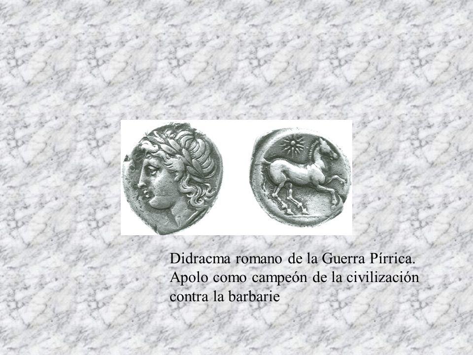 Didracma romano de la Guerra Pírrica. Apolo como campeón de la civilización contra la barbarie