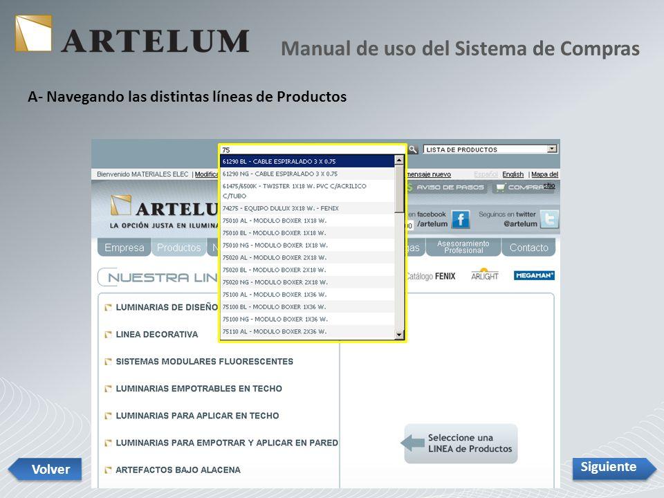 Siguiente Volver También se puede acceder estando en la pantalla de ficha de un producto presionando sobre el botón GRILLA DE ARTICULOS que se ve a media altura sobre la barra de la derecha.