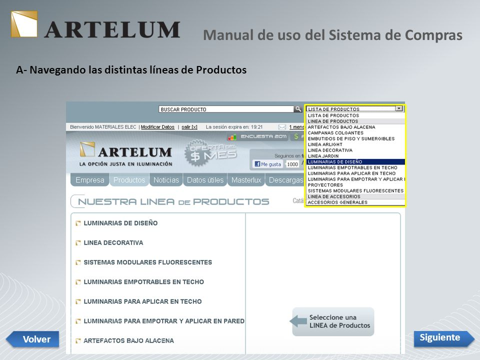 A- Navegando las distintas líneas de Productos Manual de uso del Sistema de Compras Siguiente Volver