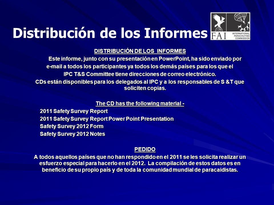 DISTRIBUCIÓN DE LOS INFORMES Este informe, junto con su presentación en PowerPoint, ha sido enviado por e-mail a todos los participantes ya todos los demás países para los que el IPC T&S Committee tiene direcciones de correo electrónico.