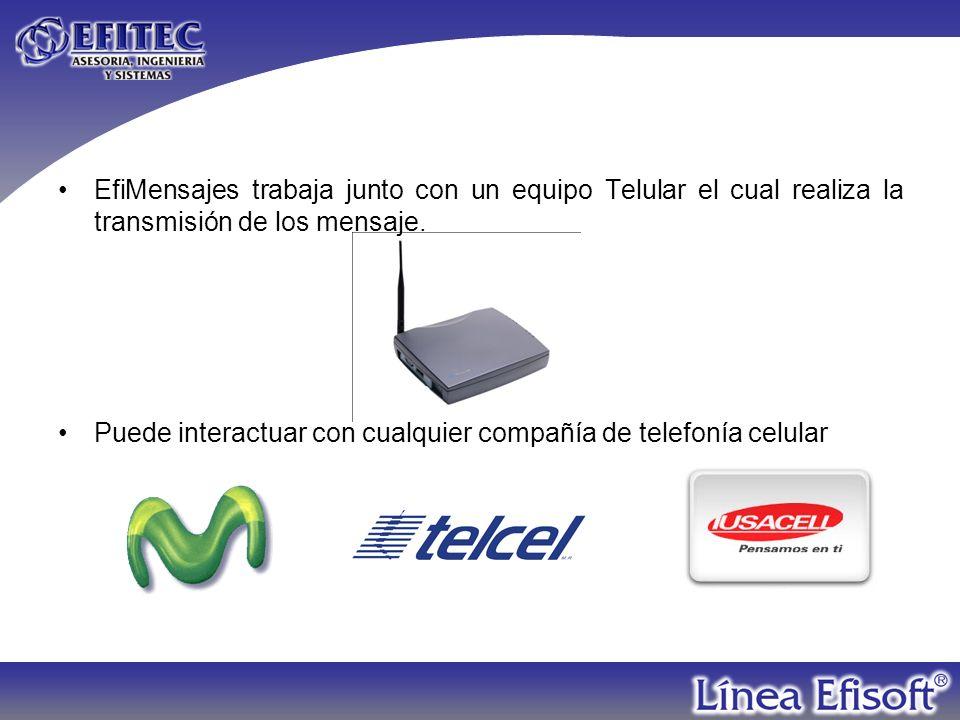 EfiMensajes trabaja junto con un equipo Telular el cual realiza la transmisión de los mensaje.
