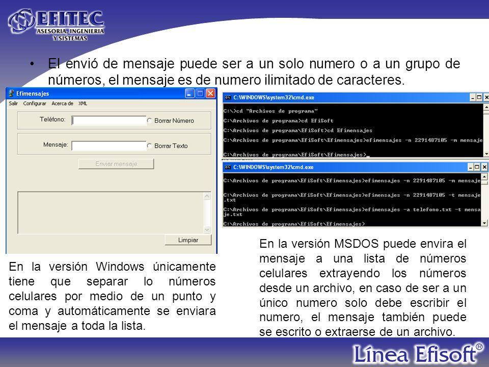 El envió de mensaje puede ser a un solo numero o a un grupo de números, el mensaje es de numero ilimitado de caracteres.
