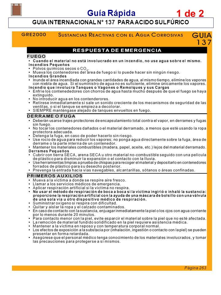 Guía Rápida GUIA INTERNACIONAL N° 137 PARA ACIDO SULFÚRICO 1 de 2