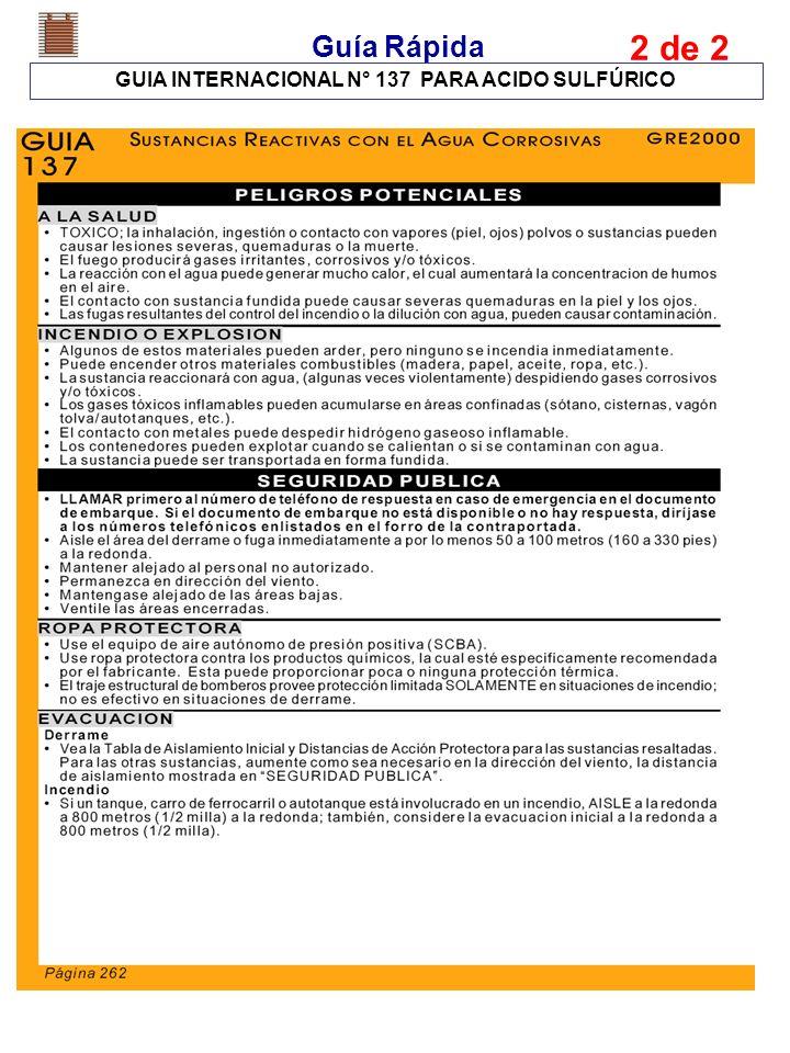 Guía Rápida GUIA INTERNACIONAL N° 137 PARA ACIDO SULFÚRICO 2 de 2