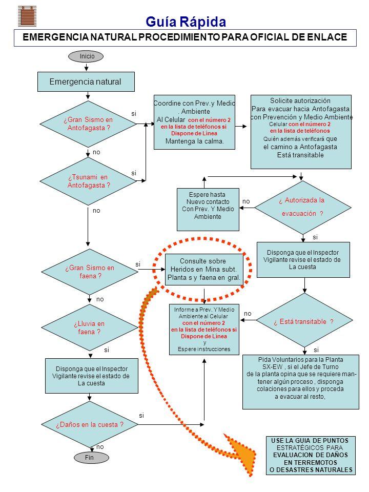 Guía Rápida EMERGENCIA NATURAL PROCEDIMIENTO PARA OFICIAL DE ENLACE Emergencia natural Inicio Fin ¿Gran Sismo en Antofagasta ? si ¿ Autorizada la evac