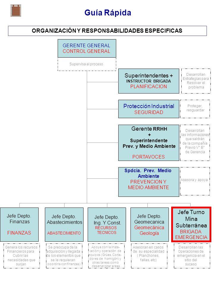 Guía Rápida ORGANIZACIÓN Y RESPONSABILIDADES ESPECIFICAS GERENTE GENERAL CONTROL GENERAL Superintendentes + INSTRUCTOR BRIGADA PLANIFICACION Protecció