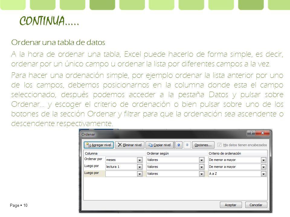 Page 10 Ordenar una tabla de datos A la hora de ordenar una tabla, Excel puede hacerlo de forma simple, es decir, ordenar por un único campo u ordenar