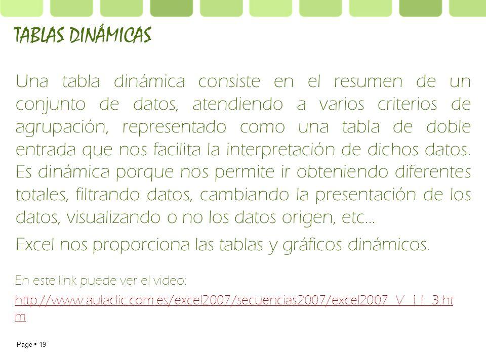 Page 19 Una tabla dinámica consiste en el resumen de un conjunto de datos, atendiendo a varios criterios de agrupación, representado como una tabla de