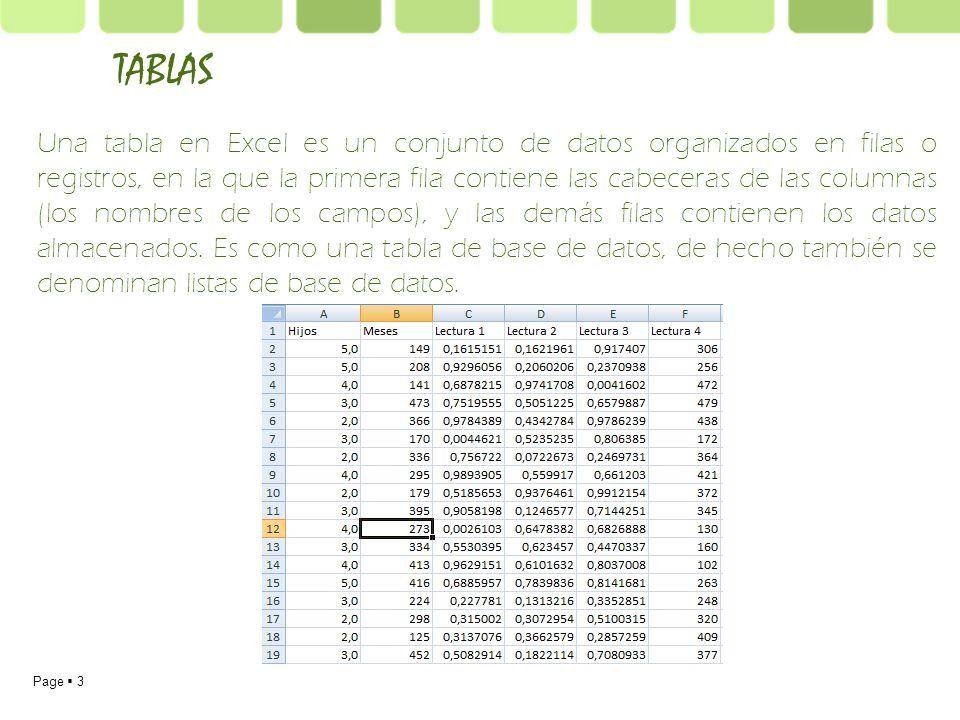 Page 3 Una tabla en Excel es un conjunto de datos organizados en filas o registros, en la que la primera fila contiene las cabeceras de las columnas (