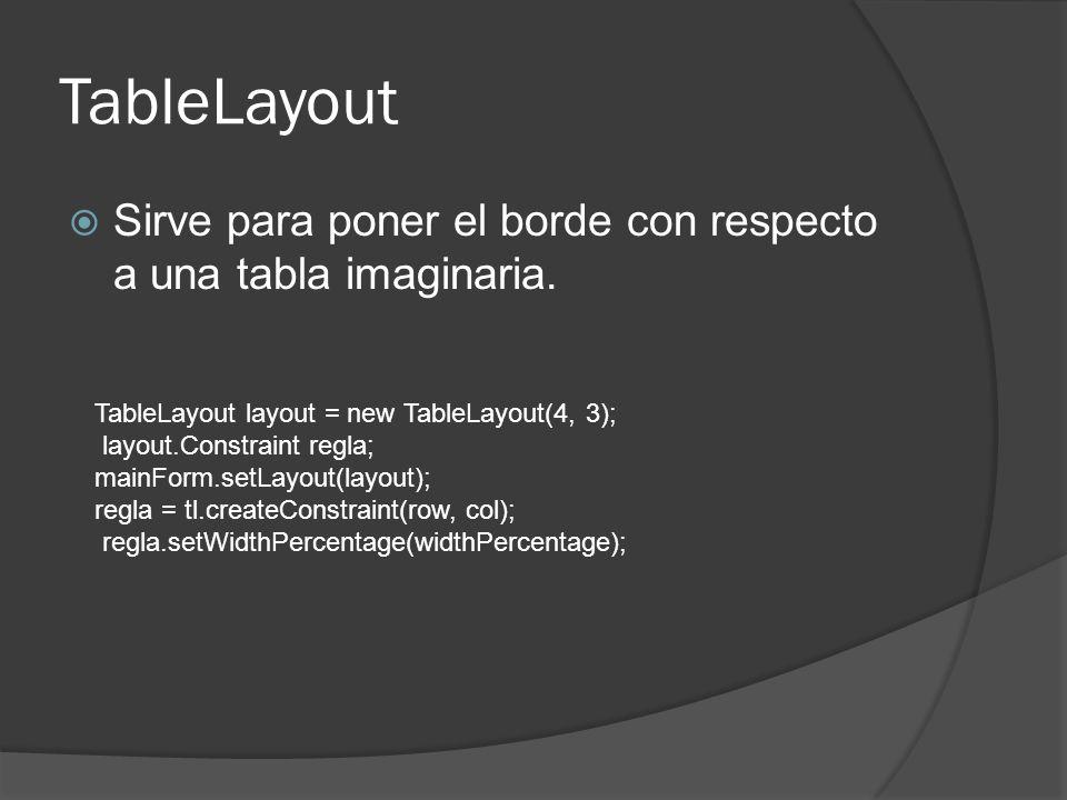 TableLayout Sirve para poner el borde con respecto a una tabla imaginaria. TableLayout layout = new TableLayout(4, 3); layout.Constraint regla; mainFo