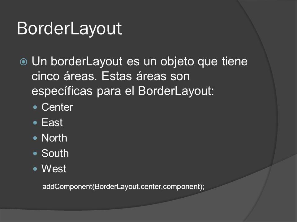 BorderLayout Un borderLayout es un objeto que tiene cinco áreas. Estas áreas son específicas para el BorderLayout: Center East North South West addCom