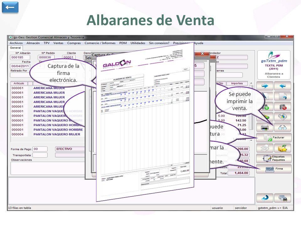 Albaranes de Venta Cabecera de la venta: cliente, fecha y vendedor.