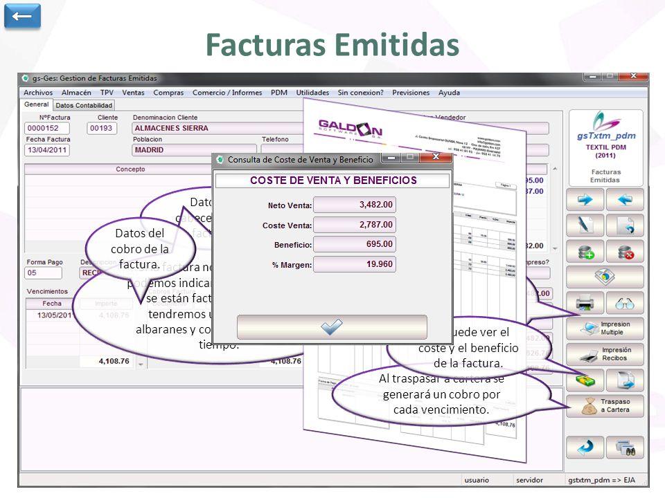 Facturas Emitidas Datos de cabecera de la factura.