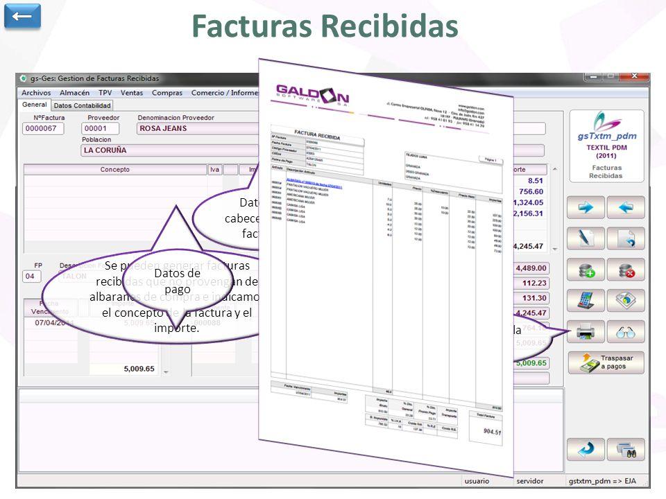 Facturas Recibidas Datos de cabecera de la factura.