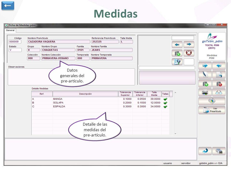 Medidas Datos generales del pre-artículo. Detalle de las medidas del pre-artículo.
