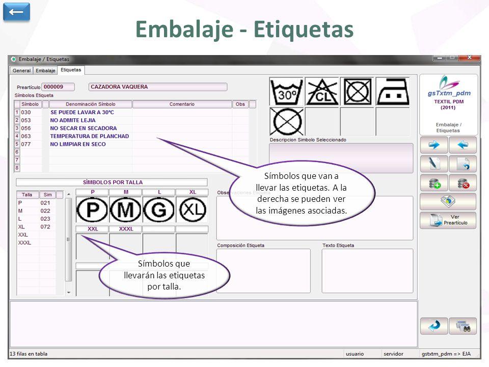 Embalaje - Etiquetas Datos generales del pre-artículo Se puede asociar documentación a la etapa de embalaje.
