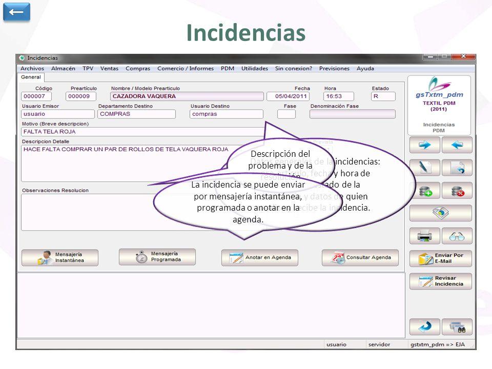 Incidencias Datos generales de la incidencias: pre-artículo, fecha y hora de anotación, estado de la incidencia y datos de quien realiza y recibe la incidencia.