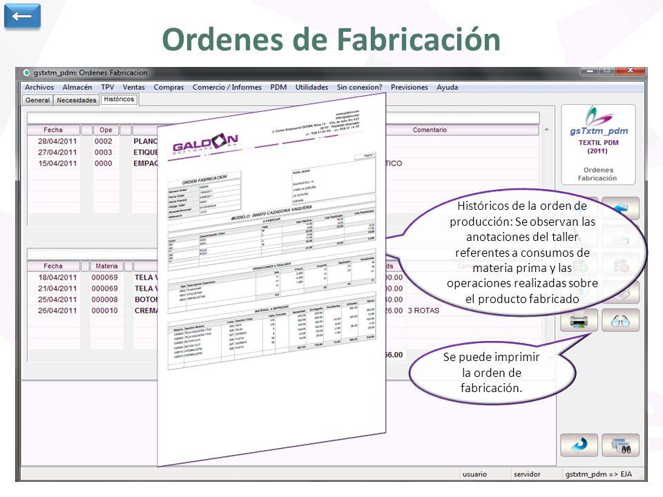Ordenes de Fabricación Artículo que se va a fabricar, taller que fabrica, almacén, fecha prevista y estado de la orden.