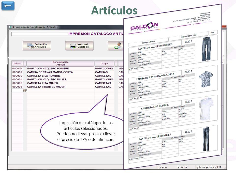 Artículos Datos generales del artículo Colores y tallas disponibles Precios de compra y de venta para TPV y para almacén Precios de venta especiales Precios de compra por Proveedor Stock por almacén, color y talla.
