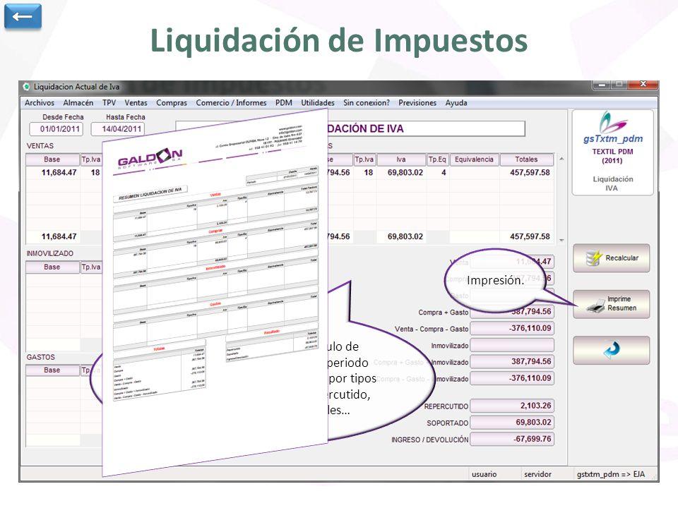 Liquidación de Impuestos Informe de resumen para cálculo de liquidación de impuestos en un periodo determinado de fechas.