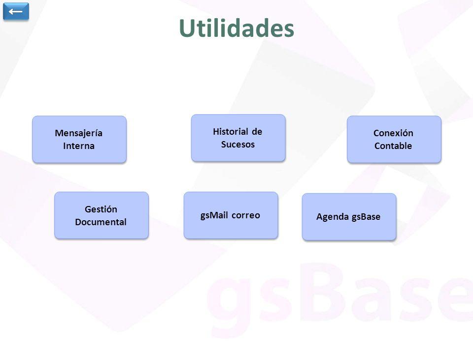 Mensajería Interna Mensajería Interna Historial de Sucesos Historial de Sucesos Conexión Contable Conexión Contable Gestión Documental Gestión Documental gsMail correo Agenda gsBase Utilidades