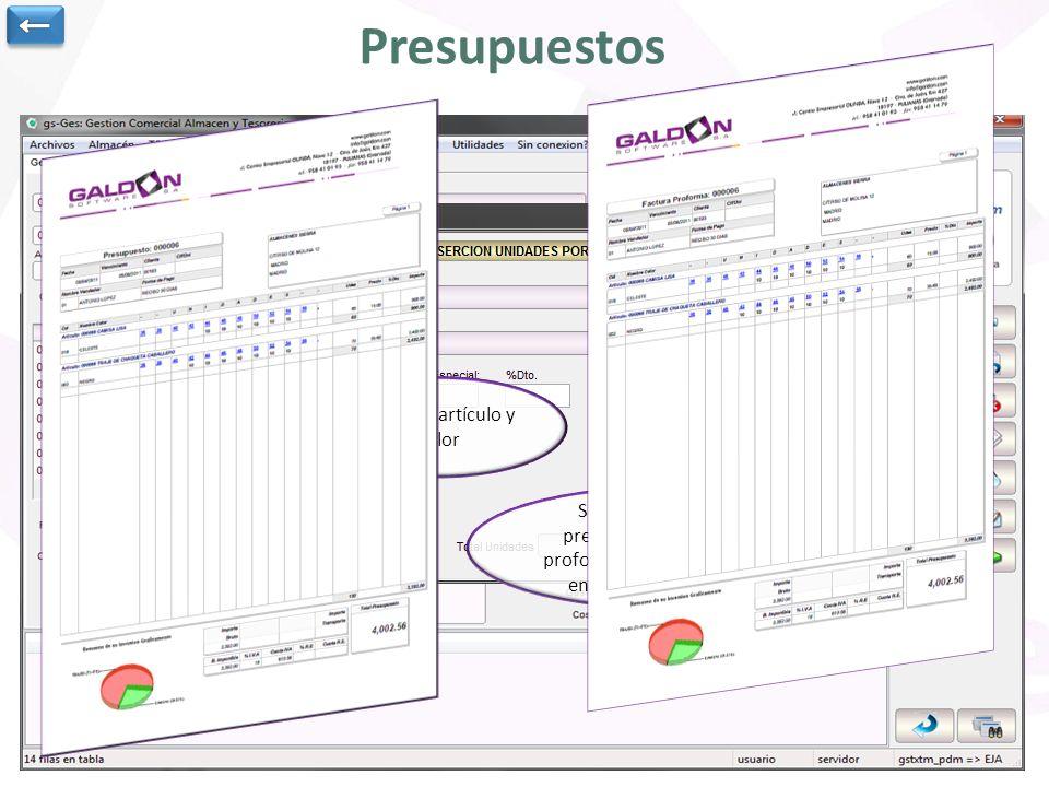 Presupuestos Cabecera del presupuesto: cliente, vendedor, almacén, fecha y fecha vencimiento.