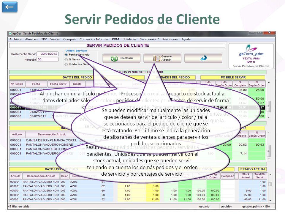 Servir Pedidos de Cliente Al mostrar los resultados se ordenarán los resultados por orden de fecha de servicio, % servir o unidades a servir Resumen por pedido: unidades pedidas, servidas y pendientes.