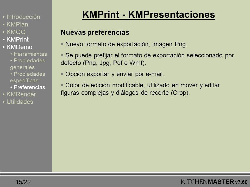 15/22KITCHENMASTER v7.60 KMPrint - KMPresentaciones Nuevas preferencias Nuevo formato de exportación, imagen Png. Se puede prefijar el formato de expo