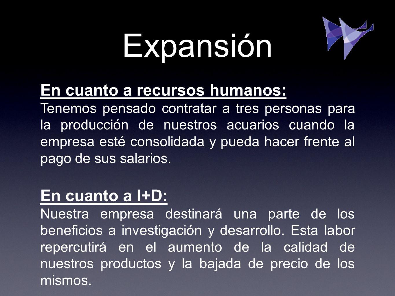 Expansión En cuanto a recursos humanos: Tenemos pensado contratar a tres personas para la producción de nuestros acuarios cuando la empresa esté conso