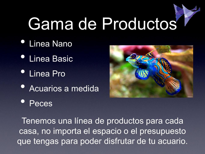 Gama de Productos Linea Nano Linea Basic Linea Pro Acuarios a medida Peces Tenemos una línea de productos para cada casa, no importa el espacio o el p