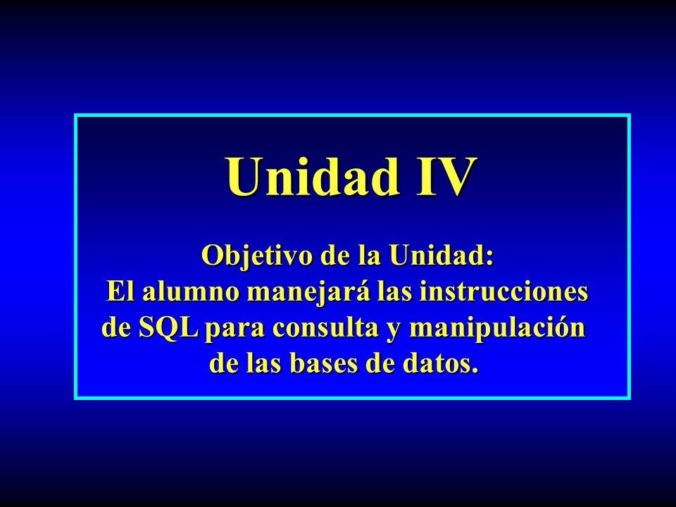 Unidad IV Unidad IV Objetivo de la Unidad: Objetivo de la Unidad: El alumno manejará las instrucciones de SQL para consulta y manipulación de las bases de datos.