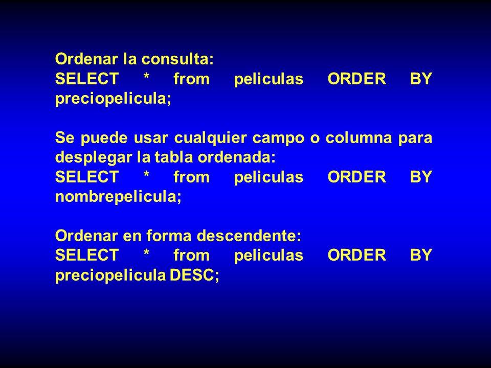 Ordenar la consulta: SELECT * from peliculas ORDER BY preciopelicula; Se puede usar cualquier campo o columna para desplegar la tabla ordenada: SELECT * from peliculas ORDER BY nombrepelicula; Ordenar en forma descendente: SELECT * from peliculas ORDER BY preciopelicula DESC;