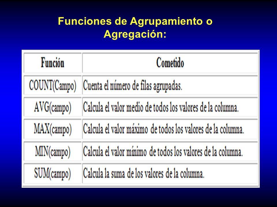 Funciones de Agrupamiento o Agregación: