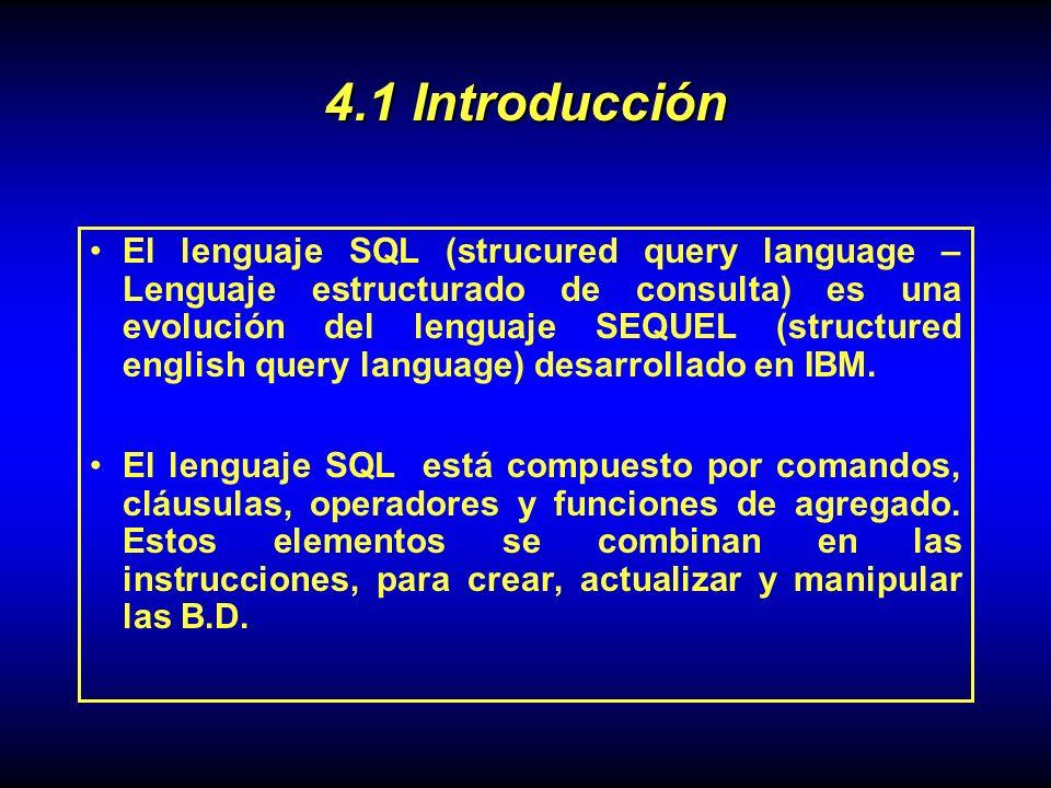 El lenguaje SQL (strucured query language – Lenguaje estructurado de consulta) es una evolución del lenguaje SEQUEL (structured english query language) desarrollado en IBM.