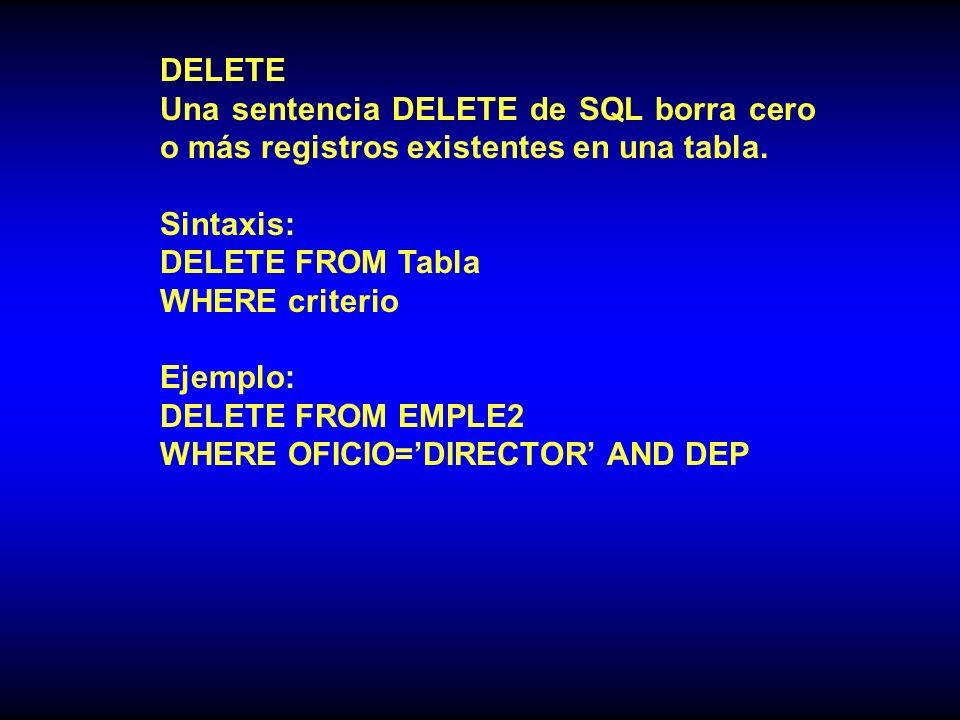 DELETE Una sentencia DELETE de SQL borra cero o más registros existentes en una tabla.